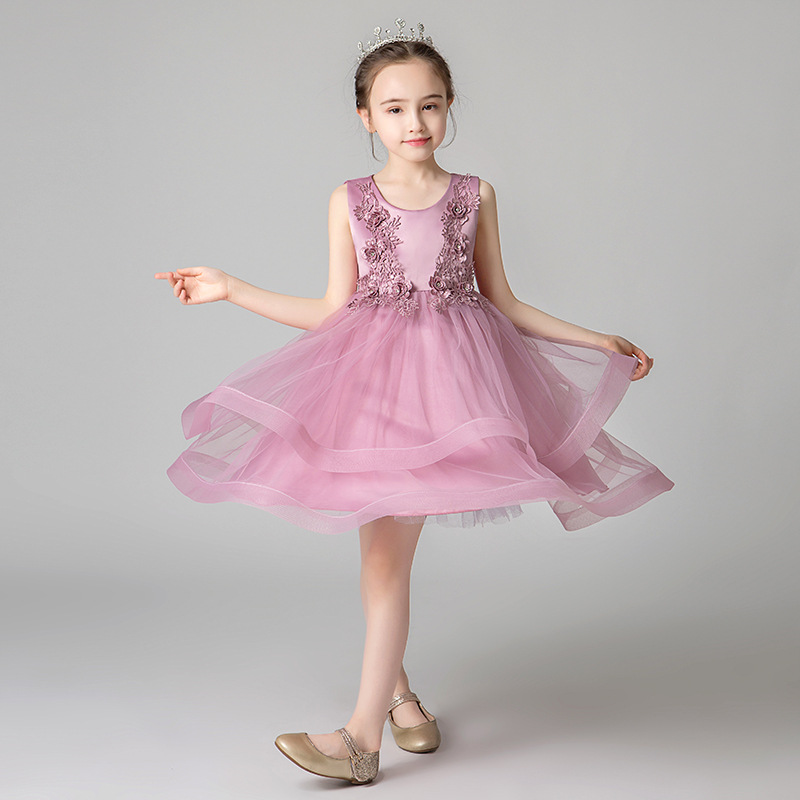 Girls   Lace Tulle Gown   Flower     Girl     Dress   For Weddings Lovely   Flower   O-neck Sleeveless   Dress   Mini Solid Color Big   Girls   Ball Gown