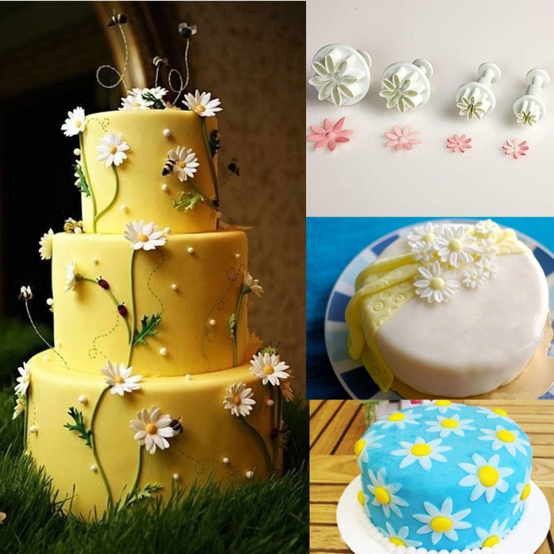 4pcs Hydrangea Fondant Cake Decorating Sugar Craft Plunger Cutter Daisy Flower Kitchen Household Tools Mold