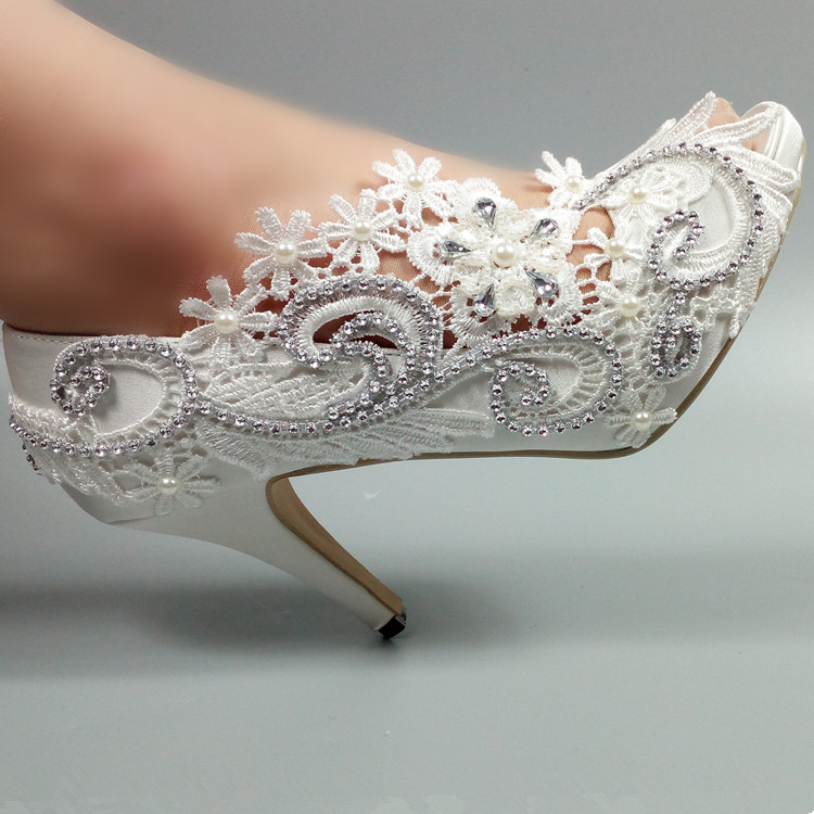 цена на New arrive 8cm/10cm high heel fish toe white lace Bridal shoes women Pumps Girl's  Party dress shoes Peep toe