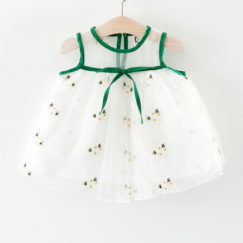 Girls Dress 2018 Summer Embroidery Net Yarn Party Dress Baby 6-24M Birthday Dress Baby Girl Clothes For Children Clothing