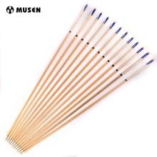 6/12/24pcs Wooden Arrow 80cm Length 8.6 cm Diameter Steel Arrowhead White Feathers For Archery Hunting Shooting