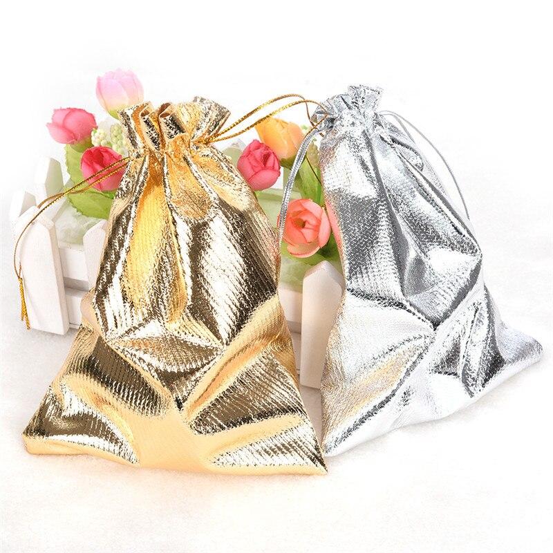 10 Pcs Einstellbare Schmuck Verpackung Kordelzug Samt Tasche Drawable Organza Beutel Weihnachten Hochzeit Geschenke Schmuck Tasche Silber/gold Elegante Form