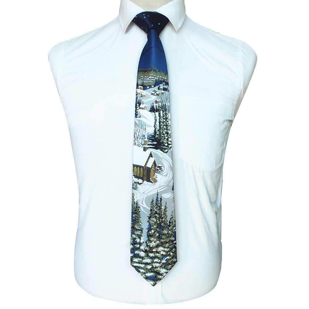 RBOCOTT yenilik noel bağları noel baba kar tanesi kravat kaliteli baskılı boyun bağları 9cm kırmızı yeşil Festival hediye için