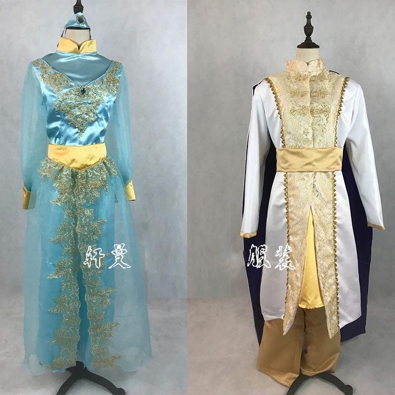 New Arrival Aladdin Lamp Prince Princess Jasmine Lovers Cosplay Costume For Adult Man Women Halloween Party Costume Custom Made
