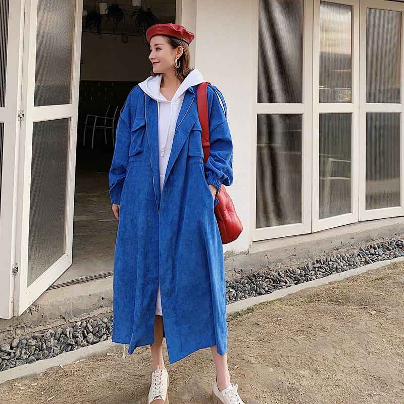 SuperAen Blue Long Windbreaker Female 2018 Autumn and Winter New Cotton Velvet Turn-down Collar Tren Coat X-Long Street   Trench
