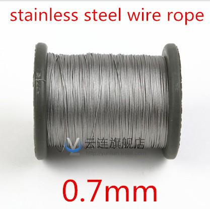 100meter/lot 0.7mm  Roll High Tensile Stainless Steel Wire Rope 7X7 Structure