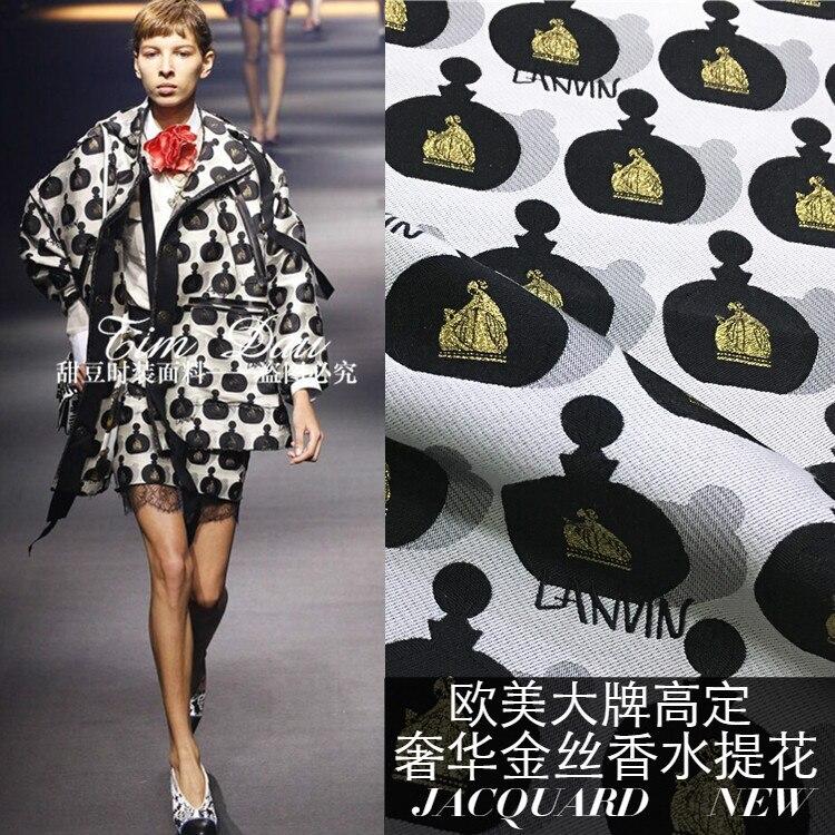 Gold thread jacquard fabric meter crisp jacquard brocade fabric windbreaker dress cotton fabric wholesale jacquard cotton
