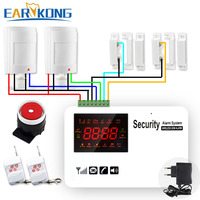 Wireless Wired Gsm Home Alarm System Pir Wired Detectors Wired Door Open Support Russian English Spanish