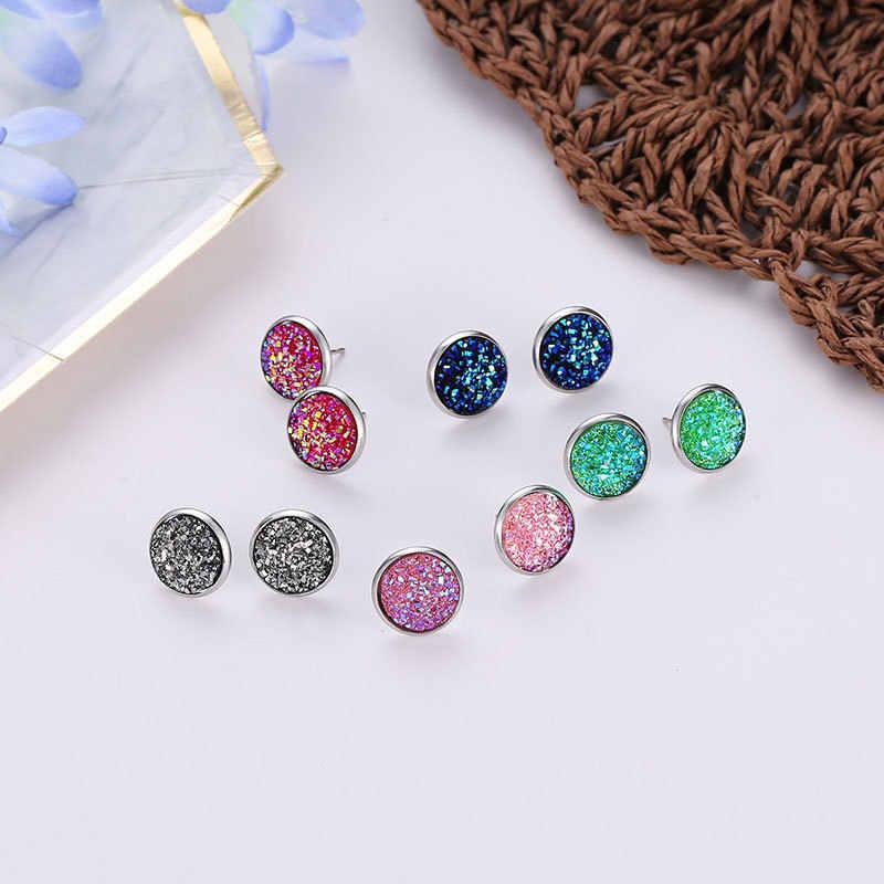 10 kleuren Geometrische Cirkel Frosted Volledige Shiny Crystal Sterren Prachtige Roze Blauw Zwart Wit Groen Stud Oorbellen Voor Vrouwen