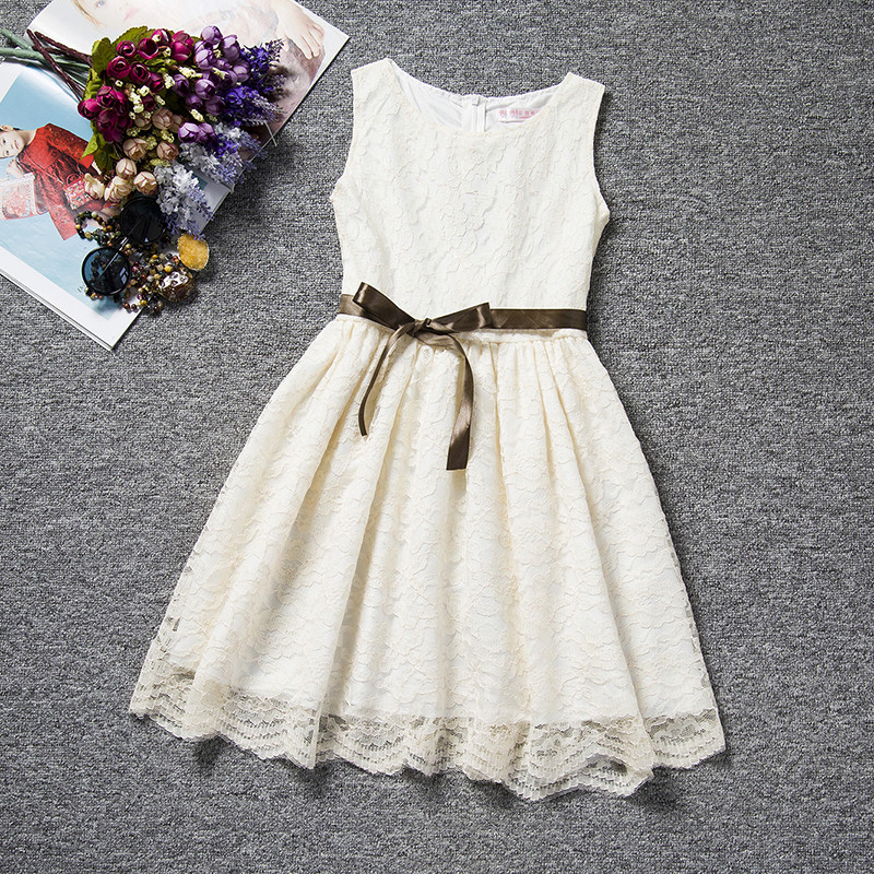 Cool Summer Solid Bow Toddler Girl Lace Dress With Blet