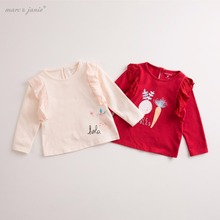 marc janie Autumn Infant Baby Girls' Cartoon Graphic Long Sleeve T Shirt Toddler Children Clothes kids lovely tops 17771