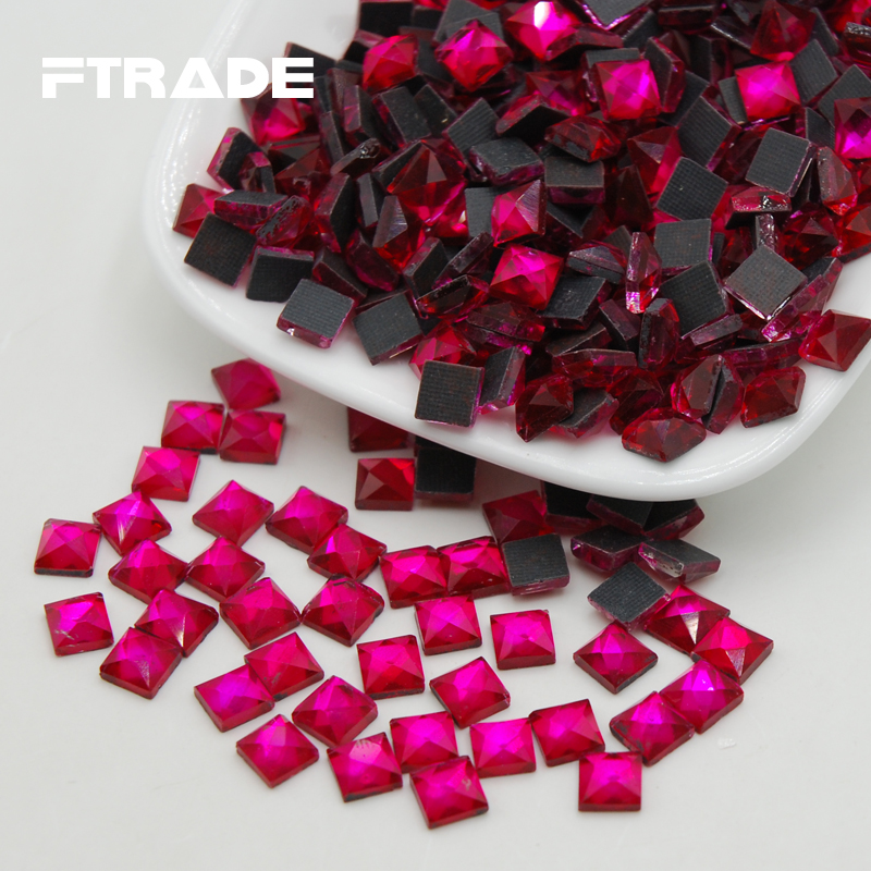 Free Shipping 6x6mm 110pcs Rose Color Craft Crystals strass Square Shape  Glue on DMC Hotfix Rhinestones Flatback For Clothes-in Rhinestones from Home  ... 005bf1ba675a