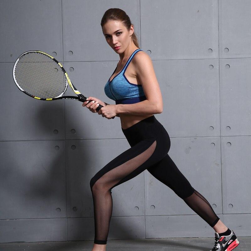 B.BANG Women Yoga Pants Mesh Patchwork Pencil Pants Elasticity Slim Jeggings Ladies Leggins Pantalon Stretch Femme 2