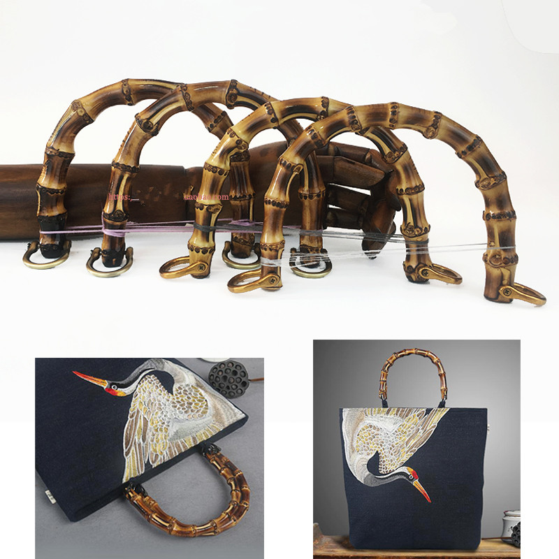 One Pair=Two Piece U Shape Outside 18X14 CM Fashion Bamboo Bag Handle Purse Frame With Fastern Rattan Cane Bamboo Purse Handle