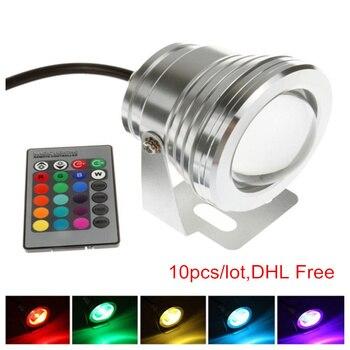 10pcs/lot,DHL Free Led Underwater Light RGB 10W 12V Led Underwater Light 16 Colors Waterproof IP67 Silver/Black Lamp Dimmable