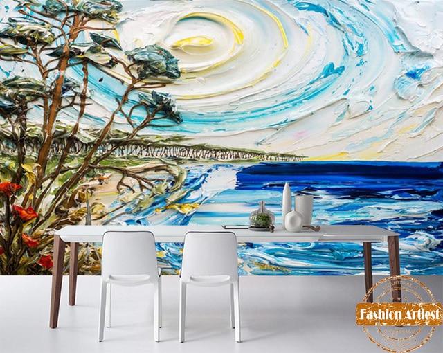 Custom Sunning Sea Handing Painting Wallpaper Mural Sun Beach Trees Oil Tv Sofa Bedroom