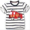 2016 chegada Nova Roupa Dos Miúdos camisetas Roupas de Verão meninos criança caminhão de Bombeiros casual Tops de algodão t-shirt curto das crianças
