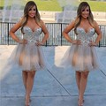 Luxury Crystal  Short Cocktail Dresses Champagne Crystal Mini Party Gowns Cocktail Dress Party Formal Gowns Custom Made