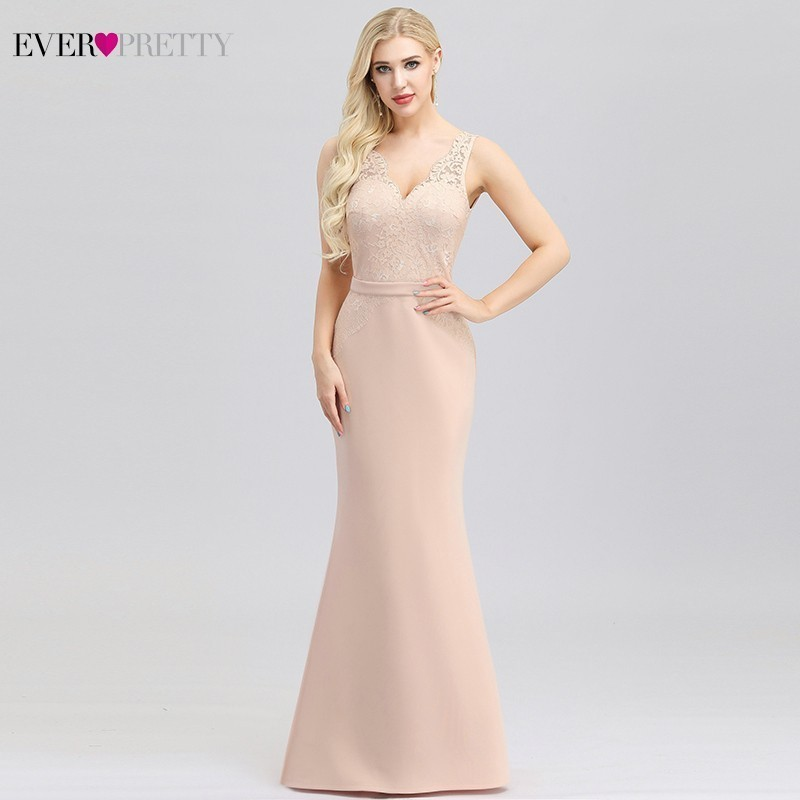 Vestidos Fiesta Boda Ever Pretty Pink Bridesmaid Dresses Double V-Neck Mermaid Lace Formal Wedding Guest Dresses Sukienka Wesele
