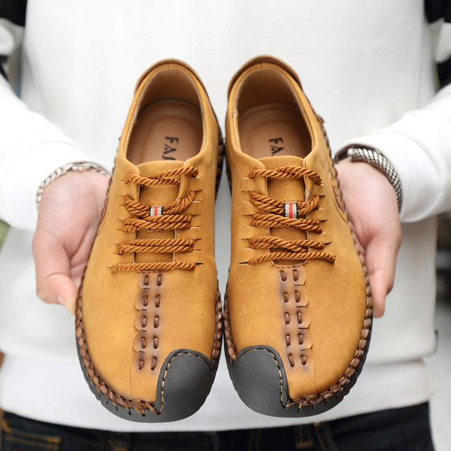 2019 Spring Men Casual Shoes Loafers Men Shoes Quality Split Leather Shoes Men Flats Hot Sale Moccasins Shoes Big Size 38-48