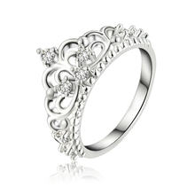 Women Princess Queen Crown Silver Wedding Ring Female Elegant Crystal Sterling Ring Nice Gift(China)
