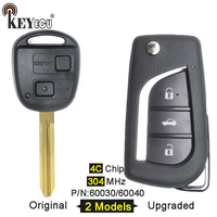 KEYECU 304MHz 4C Chip P/N:60030/ 60040 Original/ Upgraded Flip Folding 2 Button Remote Car Key Fob for Toyota Avensis Verso RAV4
