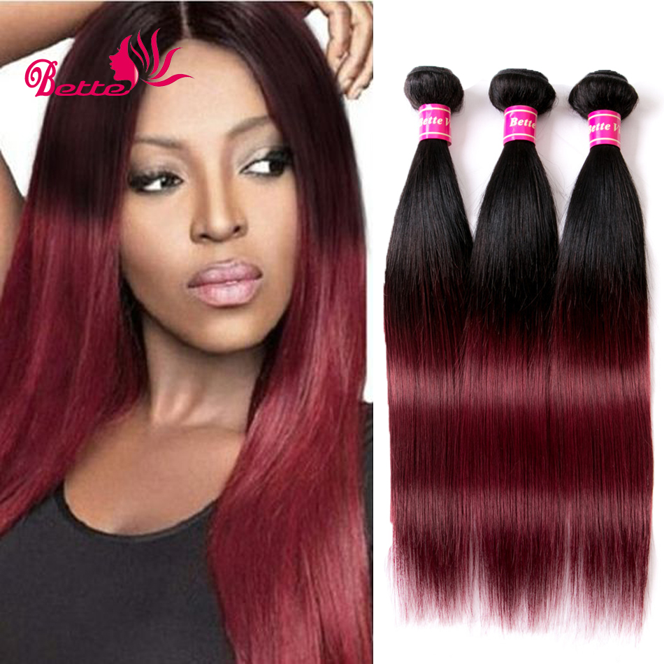SALE Ombre Peruvian Hair 3 Bundles 7A Grade Ombre Human Hair Straight Red Burgundy Weave 2 Tone Virgin Peruvian Hair Remy Hair