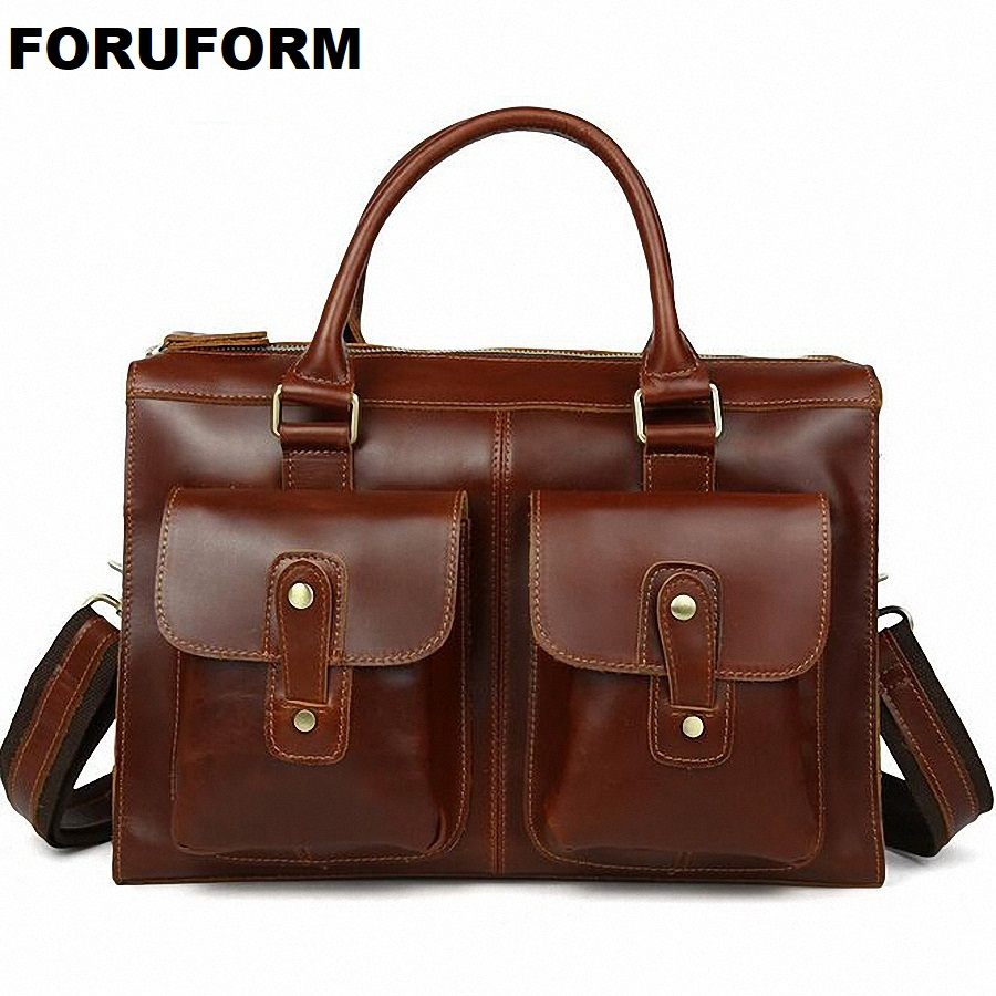 Vintage Brown Black Crazy Horse Genuine Leather Men's Briefcase Men Messenger Bags Cowhide Portfolio 14 Inch Laptop Bag LI 1523
