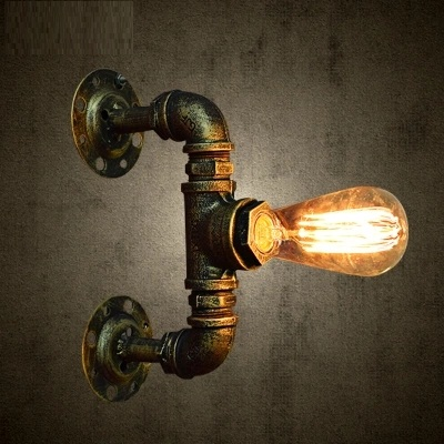Loft Style Creative Water Pipe Lamp Industrial Vintage Wall Light Fixtures For Indoor Iron Edison Wall Sconce Lampara Pared america rustic vintage pipe wall lamp in loft industrial style stair light edison wall sconce arandela lampara aplik
