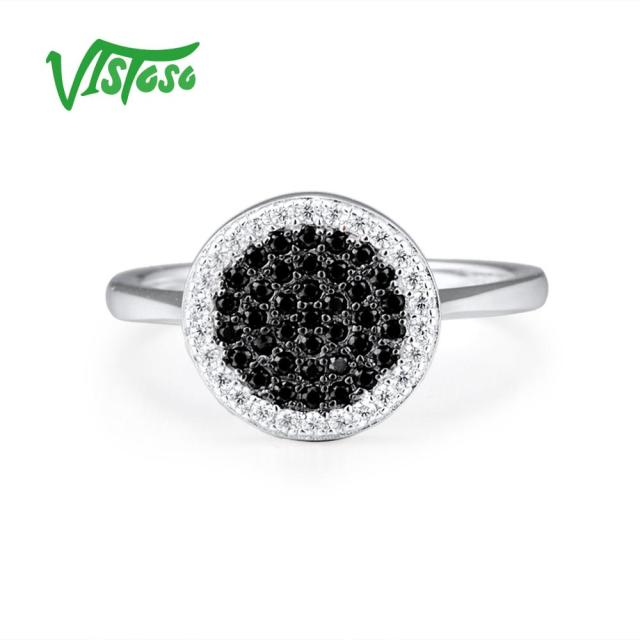 VISTOSO 925 Sterling Silver Rings For Women Natural Stone Black Spinel Round Cubic Zirconia Fine Jewelry Party Engagement Rings