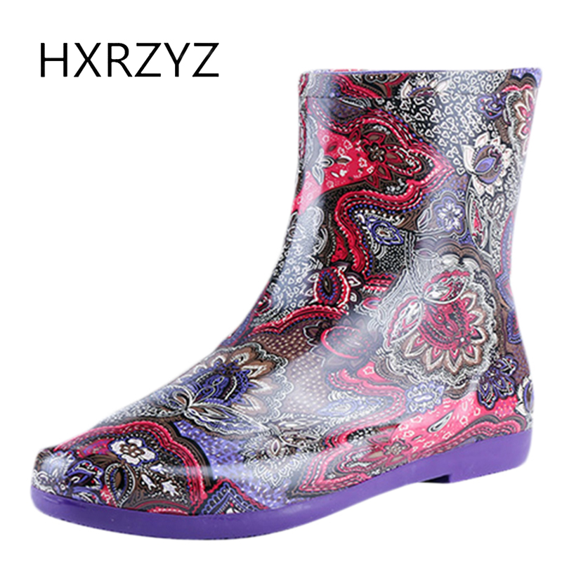 HXRZYZ women rubber boots low heel ankle rain boots spring/autumn new fashion ladies printing slip-resistant waterproof shoes hellozebra women rain boots waterproof fashion rubber elastic band solid color raining day shoes low heel 2017 autumn new href