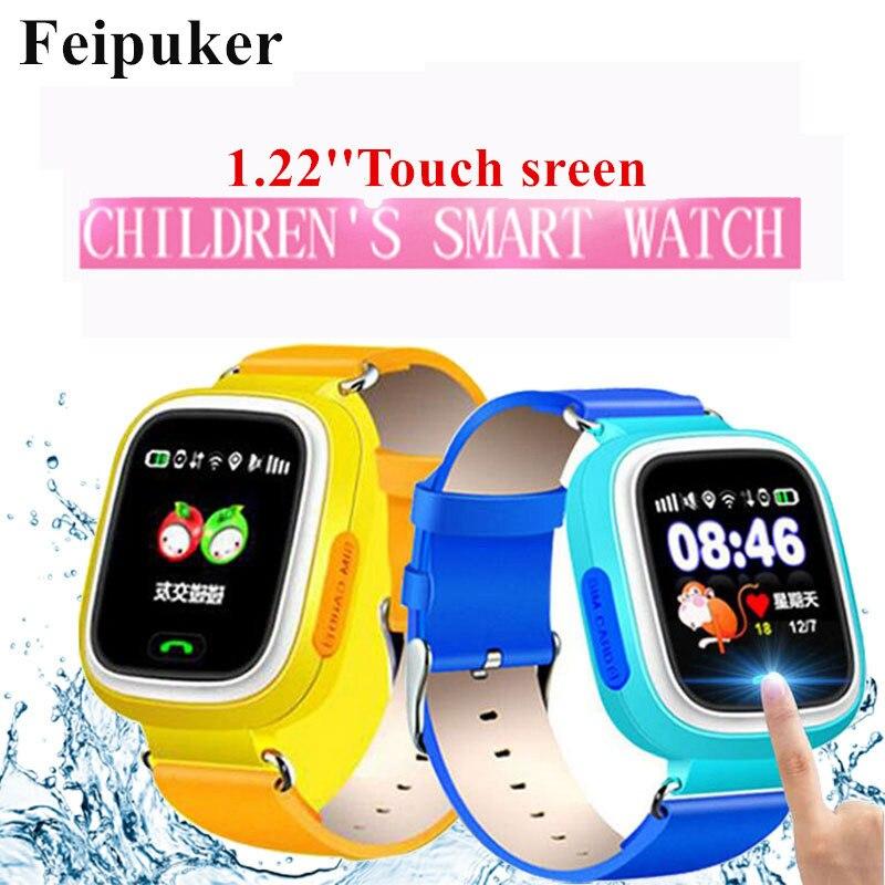 GPS SOS relógio inteligente relógio bebê Q90 com Wifi tela sensível ao toque Local chamada DeviceTracker para Criança Seguro Anti-Perdido Do Monitor PK Q80 Q60