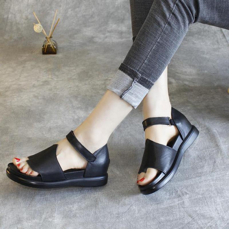 Flip Flop Plano Zapatos Tacón Cuero Sandalias De Mujer Mujeres Gladiador 2019 Casuales Verano Las Negro Genuino xIwAXFU