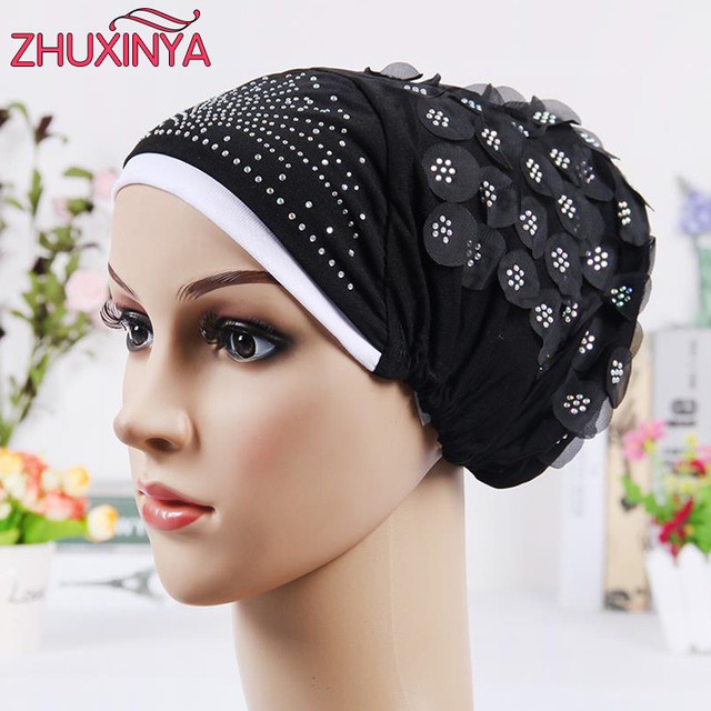 2017 New Design Islamic Scarves Wraps Hijab caps Womens Muslim Inclusive Cap  Crystal Flower Muslims Hat hijab undercaps black 2dcf1ace18c