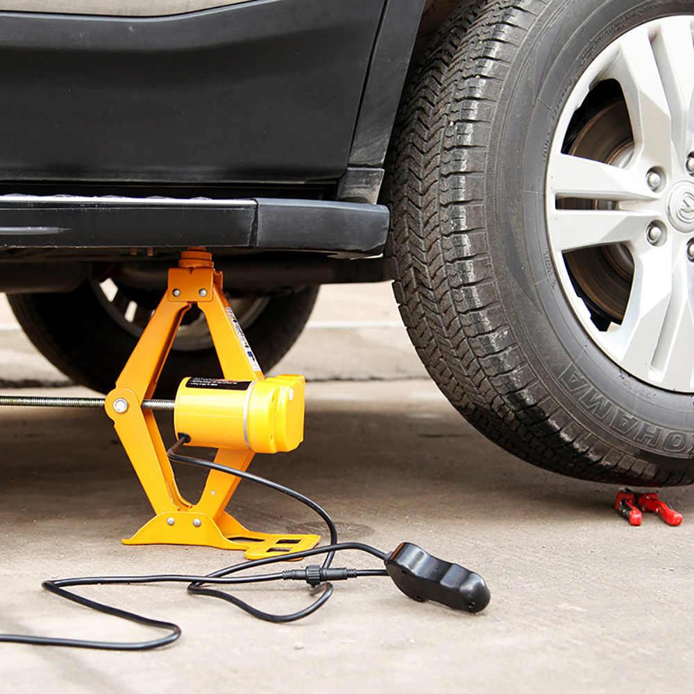 12V 100W 2T voiture vérins Auto électrique hydraulique levage Jack voiture ascenseur ciseaux pneu réparation outil avec prise adaptateur tournevis Kit