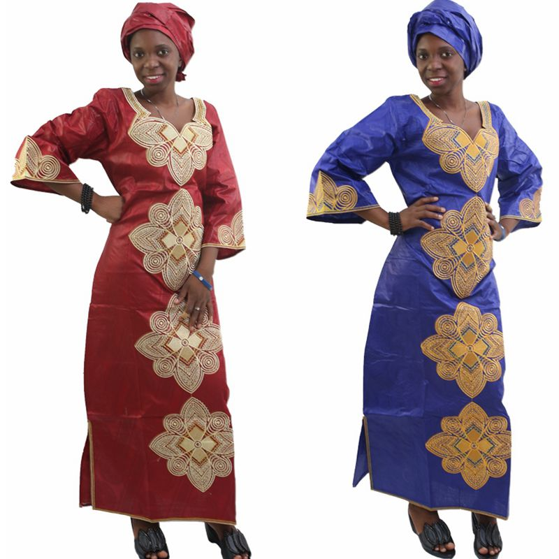 H & D New Fashion African bazin riche dress for women Kapas 100% - Pakaian kebangsaan - Foto 2