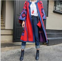 Novelty 2017 The Sales Leader Woman All Matching The Red Color Pattern Long Knit Three Quarter