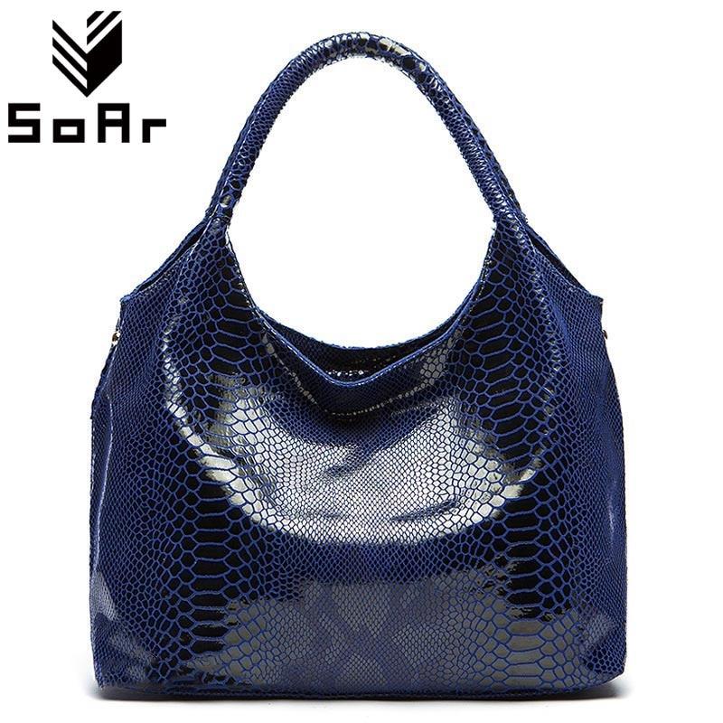 SoAr Serpentine Real Genuine Leather Women Bag Luxury Brand Shoulder Messenger Bags Crossbody Designer Handbags High Quality