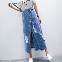 b14b0e9aa2 Blue Hat Roupas Plus size Goth Long Jeans Sevgili Falda vaquera mujer  Rokjes dames
