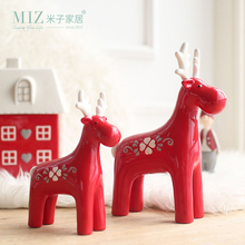 Miz Home 1 Piece Red Elk Christmas Gift Ceramic Figurine Lovely Moose Doll Christmas Decorations Ornament