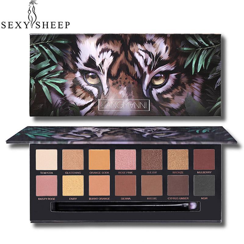 Animal Matte Eyeshadow Palette 14 Colors Velet Eye Shadow Pallette Tiger Owl Glitter Long Lasting Eye Cosmetic Eyeshadow Brushes