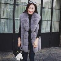 Real Fox Fur Vest For Women Warm Fur Collar Waistcoat Winter Fur Jacket Rich Thick Natural