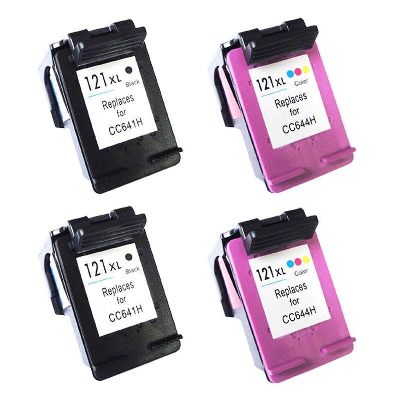 4 pk Black Color ink Cartridges For HP 121 XL 121xl For HP Deskjet All In