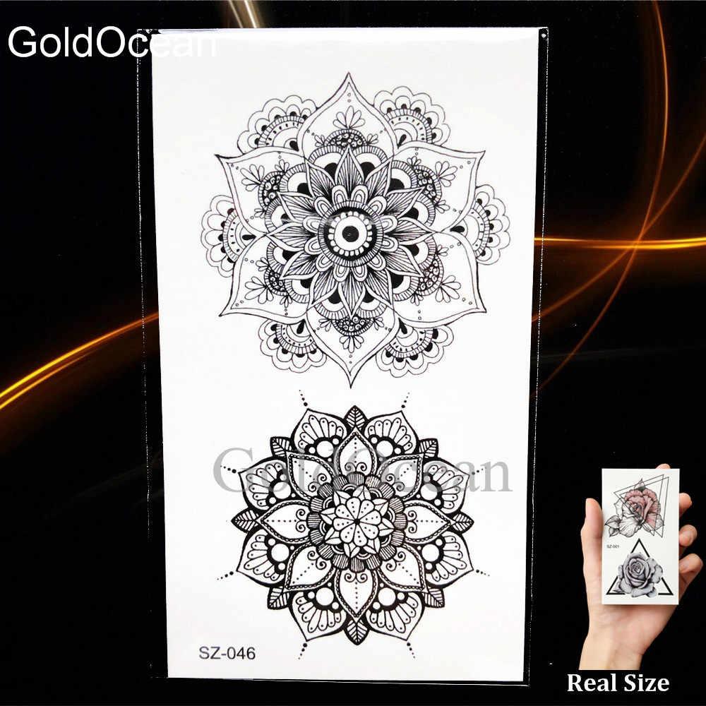 черная хна флора временные татуировки мандала компас наклейки руку для женщин
