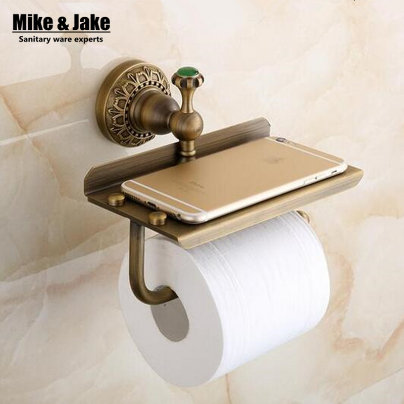 Antique Brass Bathroom Paper Phone Holder With Shelf Bathroom Mobile Phones Towel Rack Toilet