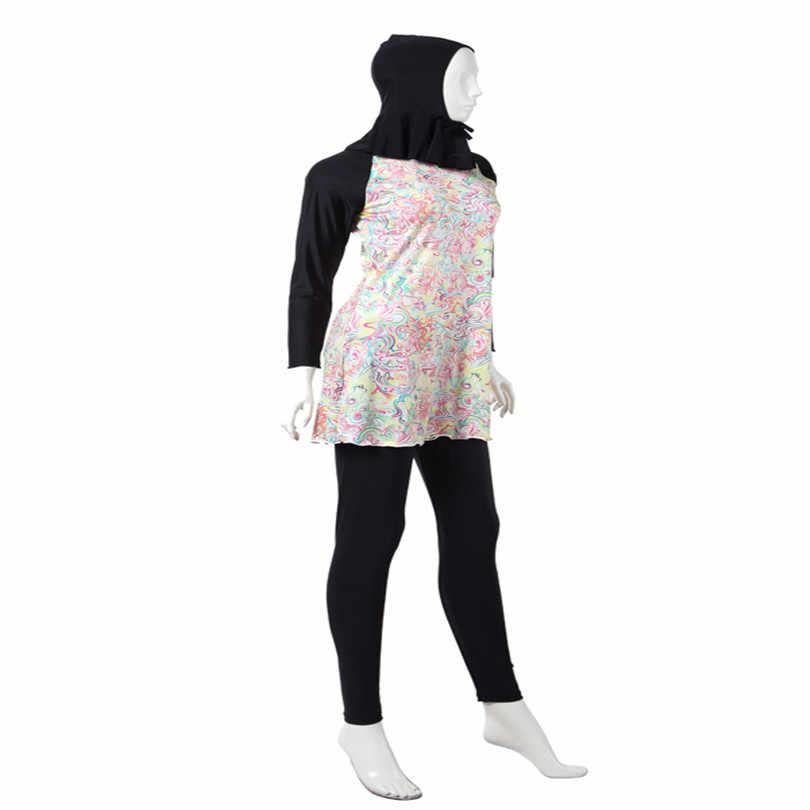 3pcs/set 4XL-S nylon and lyca women muslim islamic swimsuits swimwear m l xxl xxxl floral print Conservative with pad free wire