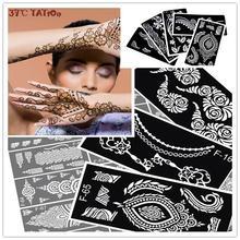 12pcs Henna Tattoo Stencil For Glitter Tattoo Template, Temporary Black Mehndi Indian Tattoo Stencils For Painting Henna Kit