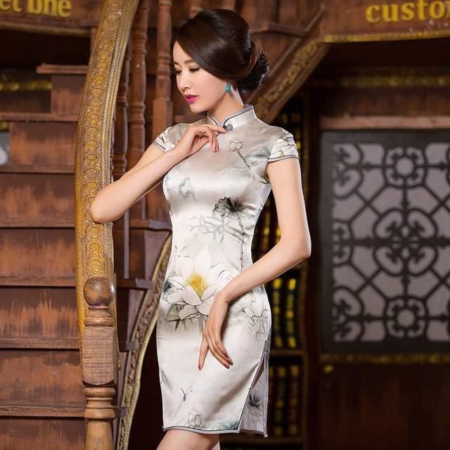 4e9ecd8389793 US $56.14  Vintage Silk Dress Women Short Sleeve Beige Cheongsam Dress Plus  Size 3XL Chinese Traditional Dress Mandarin Collar Short Qipao-in ...