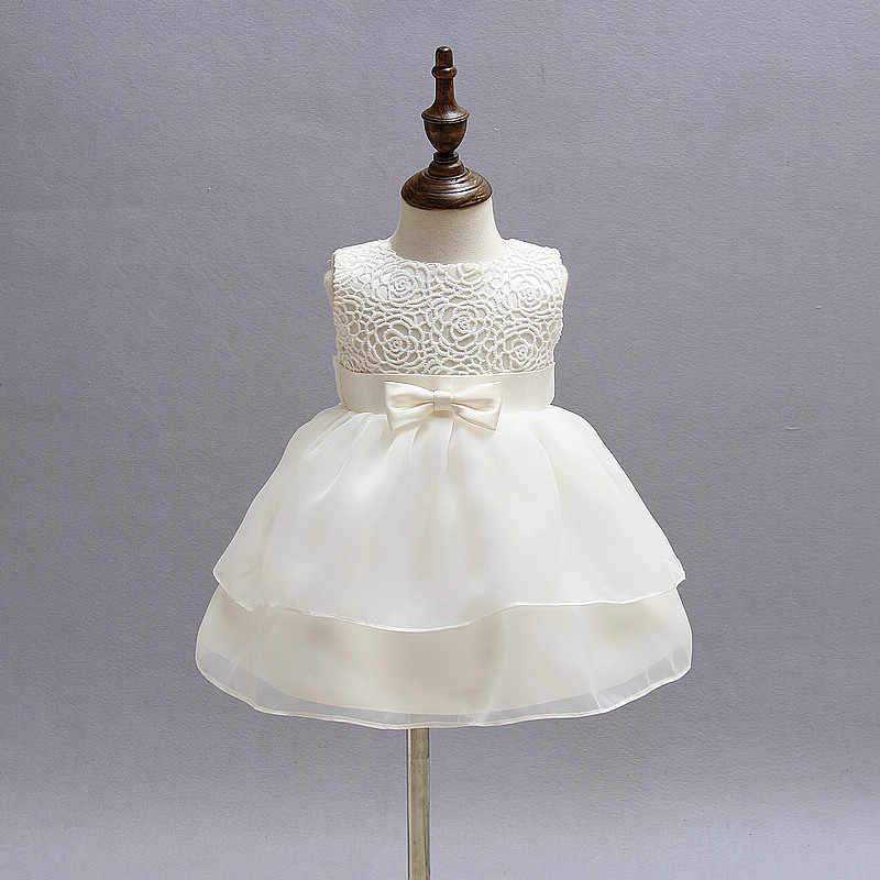 Primeiro 1st festa de aniversário para o bebê vestido de princesa para meninas batismo roupas crianças rendas sem mangas tutu vestidos para meninas vestir
