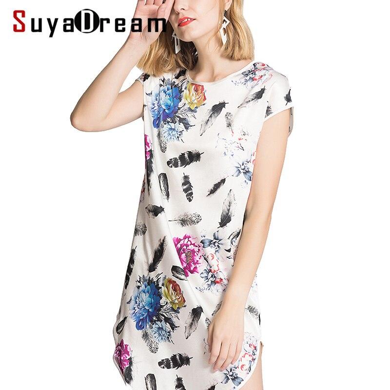 Women SILK dress 100 Real silk Floral Printed Bat sleeve dress Soft satin silk dress 2018